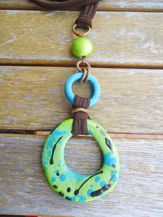 Funny, colorful handmade pendant...