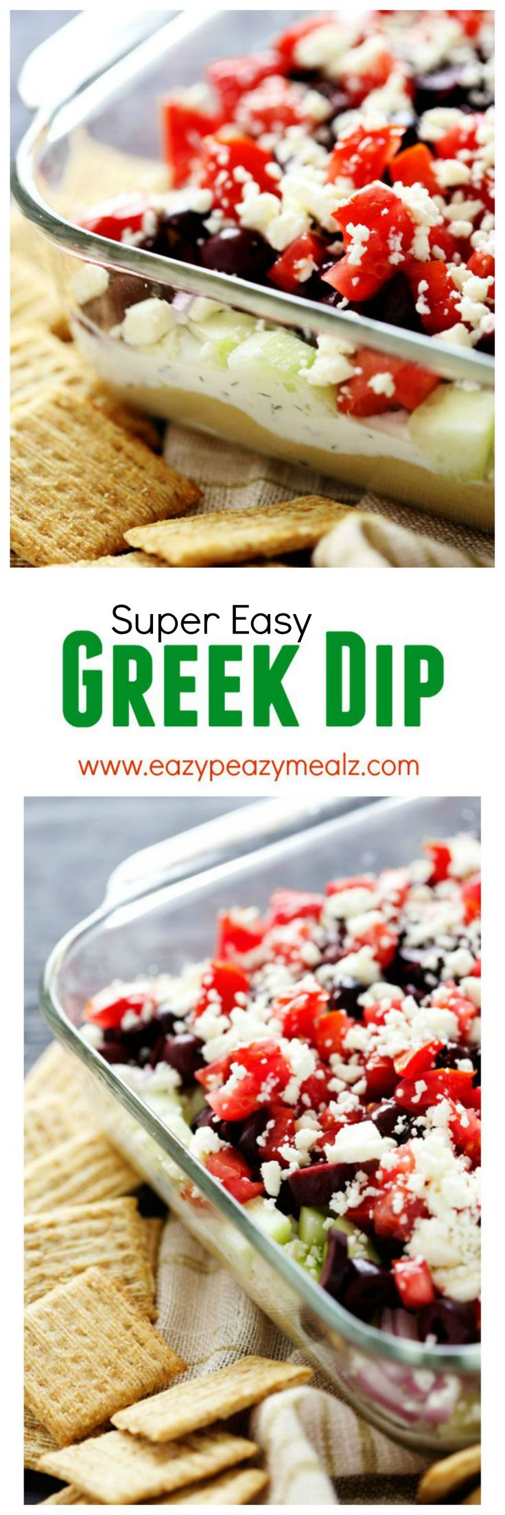 This super easy greek dip is the perfect dip. Easy, flavorful, and good for you! Ummm hello game day! - Eazy Peazy Mealz