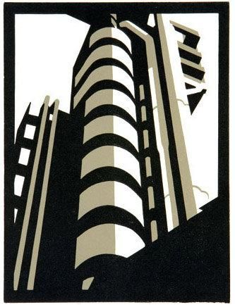 #Paul Catherall architecture Lloyd building Linocut Environmental Structure looks cool digital design of a building
