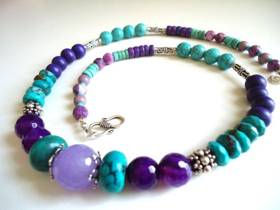Turquoise Necklace Gemstone Necklace Sterling Silver by BijouxFan, $48,00