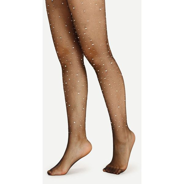 SheIn(sheinside) Rhinestone Embellished Tights (9.88 BAM) via Polyvore featuring intimates, hosiery, tights, nylon pantyhose, sexy stockings, sexy hosiery, nylon tights i sexy nylon stockings