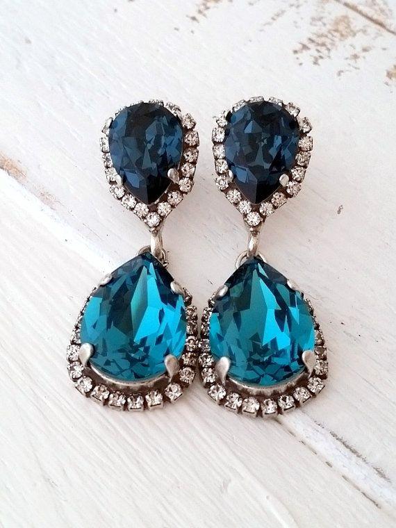 Navy blue and teal Chandelier earrings,Teal blue Drop earrings,Dangle earrings,Bridal earrings, Deep blue Swarovski earrings, Gold or silver by EldorTinaJewelry | http://etsy.me/2d9tgFb