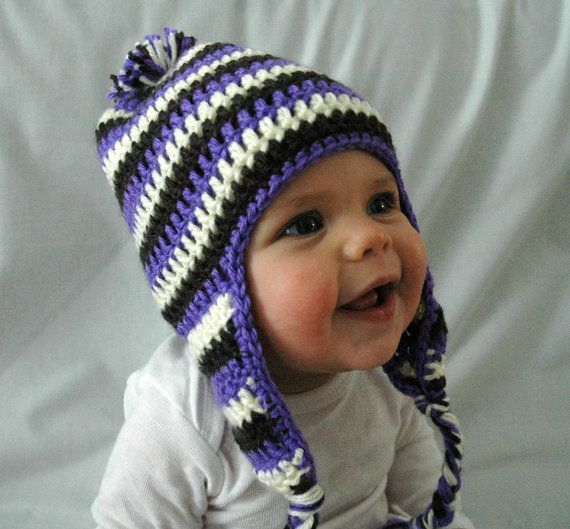 Crochet Braids Purple And Black : More like this: crochet baby hats , baby hats and black white .