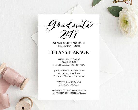Graduation Invitation Graduation Announcement Graduation Card