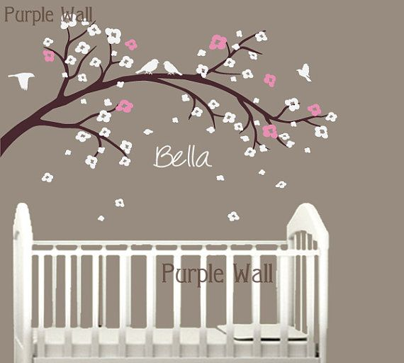 Cherry Blossom Nursery Tree Decal  Kids Branch Birds by PurpleWall, $57.00