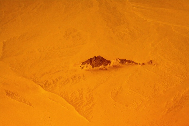Isle lost in Sinai Desert from plane