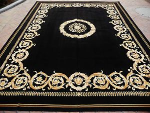 9'x12' Thick & Plush Versace Design French Savonnerie Black Rug Made to Order   eBay