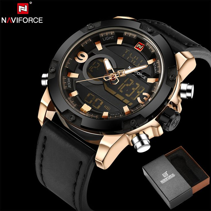 ==> [Free Shipping] Buy Best NAVIFORCE Original Luxury Brand Leather Quartz Watch Men Clock Digital LED Army Military Sport Wristwatch relogio masculino Online with LOWEST Price | 32793352751