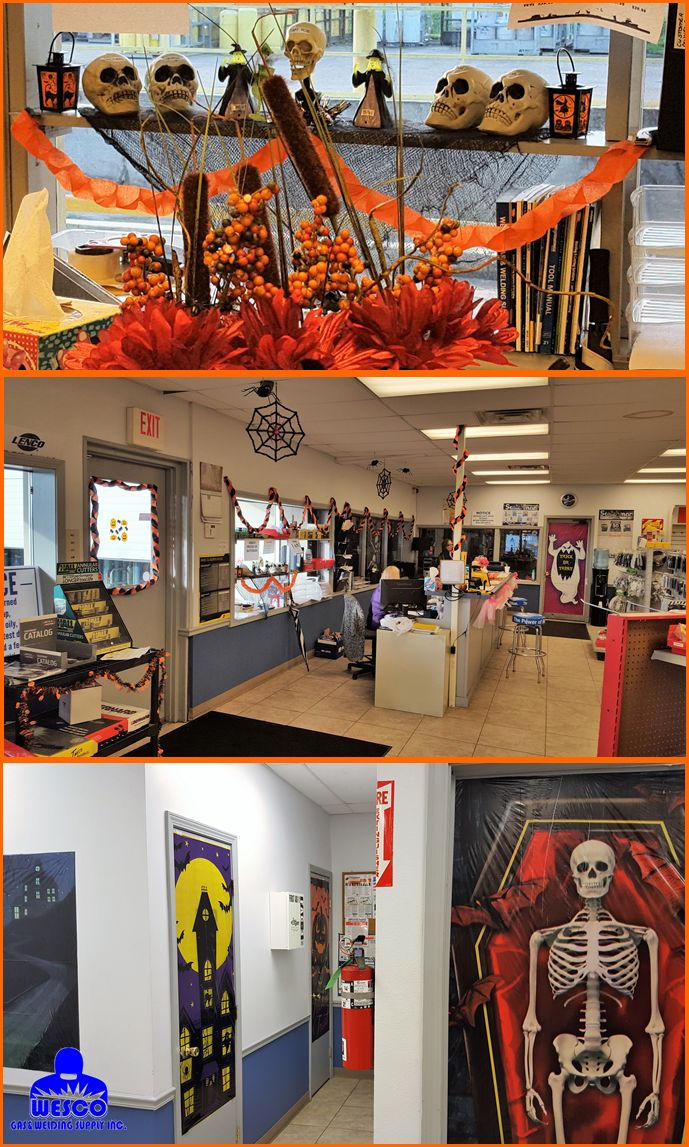 Our Harvey location is ready for Halloween! Visit the store and pick up your welding supplies! You don't want to miss this sight! #wescoweld #wescogasandweldingsupply #HarveyLa #GulfCoast #welding #gassolutions #Halloween #decorations