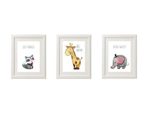 Babaszoba falikép, dekoráció, print szett - állatos; mosómedve, elefánt, róka, zsiráf, oroszlán, pandamaci.. - 3db A4-es (kkreabeaa) - Meska.hu