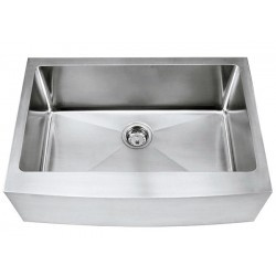 """Premium Farmhouse Apron Kitchen Sink. Curved Front Apron with 15mm Radius Interior Corners Design. 16 Gauge Stainless Steel. Single Bowl. Brushed Stainless Steel Finish. Exterior Dimensions 29-3/4"""" x 20-3/4"""". Interior Dimensions 27"""" x 16"""". Apron Depth 9"""". Bowl Depth 10"""".  http://www.emoderndecor.com/30-inch-stainless-steel-curved-front-farm-apron-single-bowl-kitchen-sink-15mm-radius-design.html"""