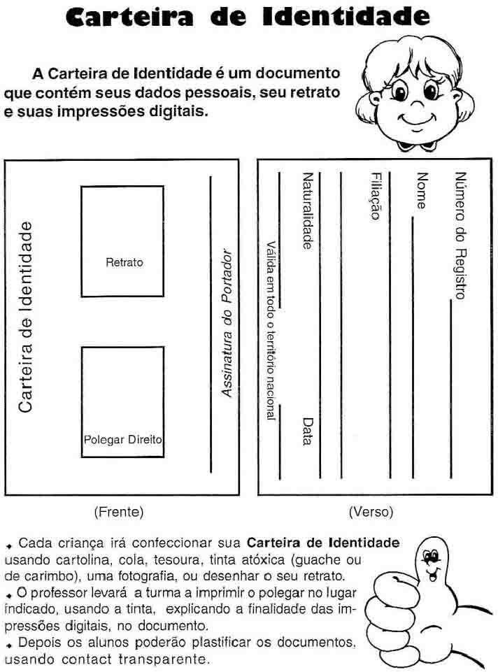 Resultado De Imagem Para Documento Identidade Atividades