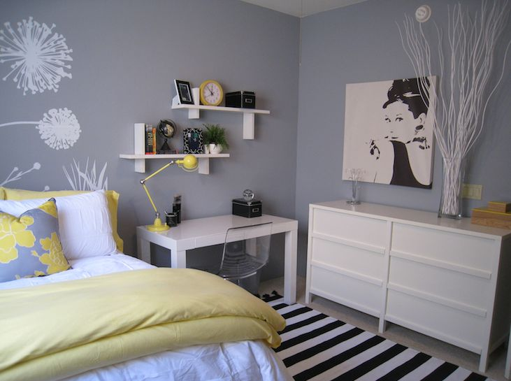 bedrooms - Benjamin Moore - Pigeon Gray - Target DwellStudio Peony Pillow West Elm Parsons Desk Ikea Tobias Chair Ikea Trondheim Dresser ikea PJATTERYD wall decal gray walls white shelves yellow shams
