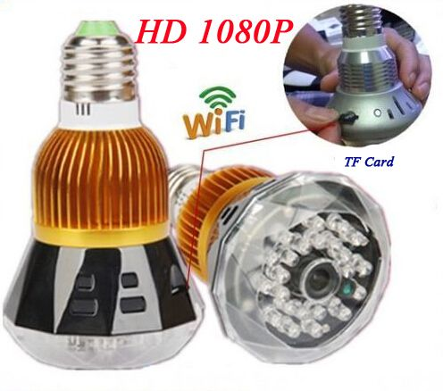 E27 1080P 360 Degree Fisheye Panoramic WIFI Camera Mini Camcorder LED Bulb Lamp Wireless Home Security System Support PC Tablet