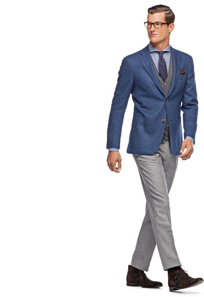 Blue jacket, grey pants, brown shoes | Groomsmen