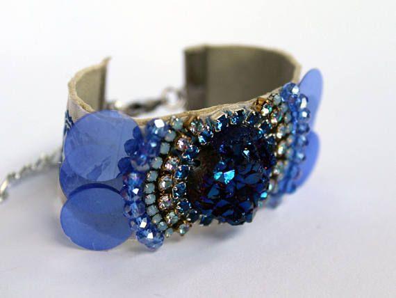 What a statement bracelet! Best Seller from JewelryLanche #blue #boho #bohemian #blueandwhite #bracelet #coachella #hippie