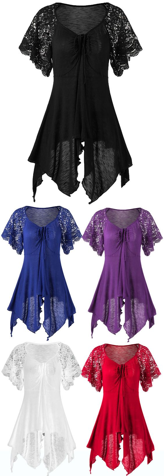 Plus Size Lace Sleeve Self Tie Handkerchief Top