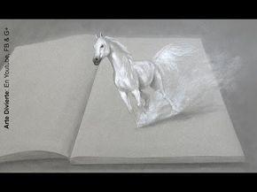 Cómo dibujar un caballo en 3D - Dibujando un caballo blanco con imaginación - YouTube