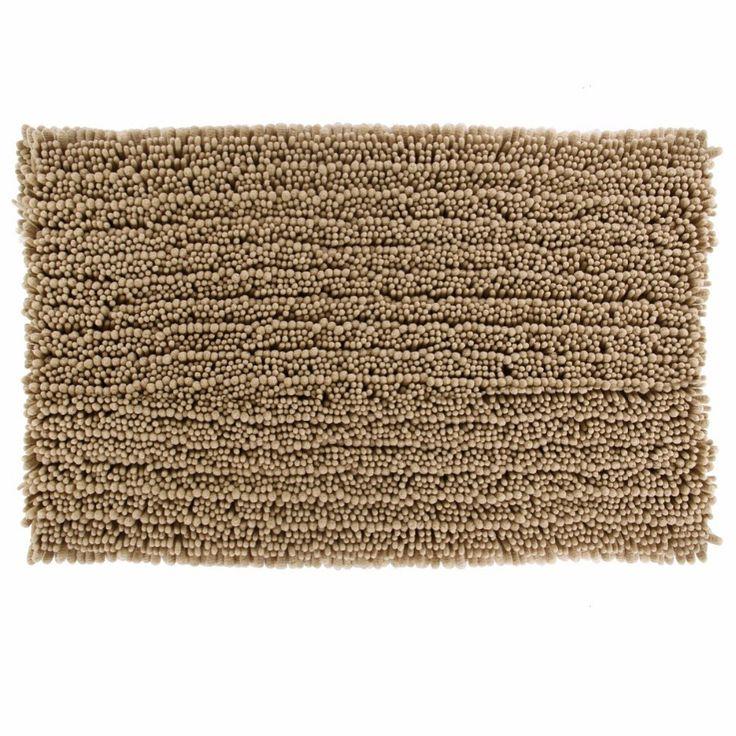 Soft Chenille Brown Bath Mat, Anti-Slip