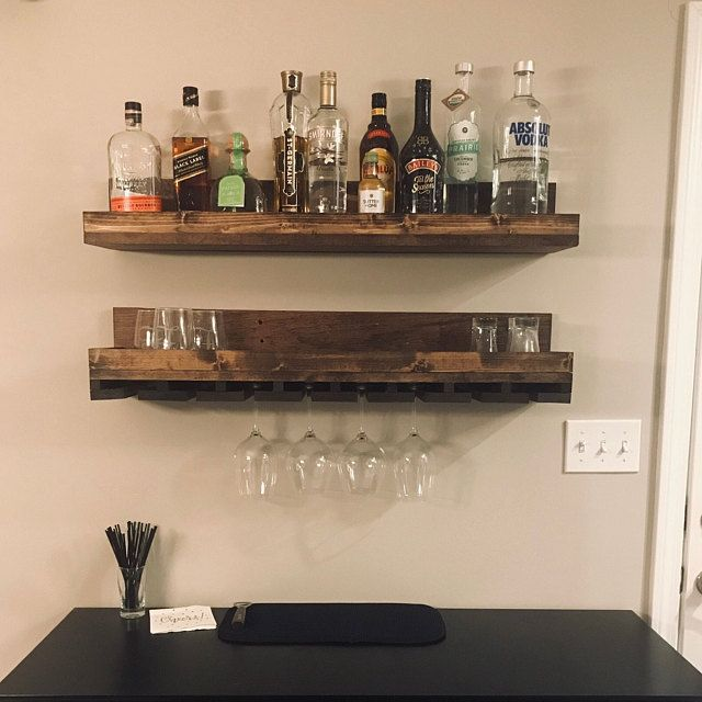 Wood Wine Rack Wall Mounted Shelf Hanging Stemware Glass Holder Organizer Bar Shelf Unique Rustic In 2020 Wall Mounted Shelves Wine Rack Wall Shelves