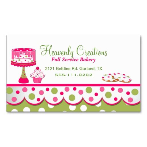 56 best bakery images on pinterest bakery business cards business pretty pink and green bakery business card reheart Image collections