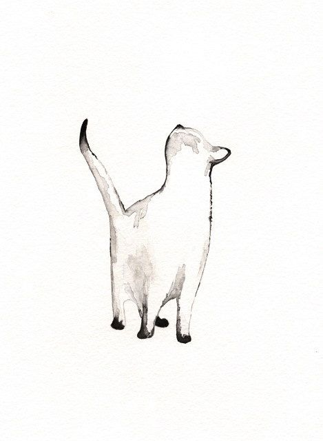 I look to You / watercolor print / grey / Cat / Minimal black and white / Archival by kellybermudez on Etsy https://www.etsy.com/listing/124920540/i-look-to-you-watercolor-print-grey-cat