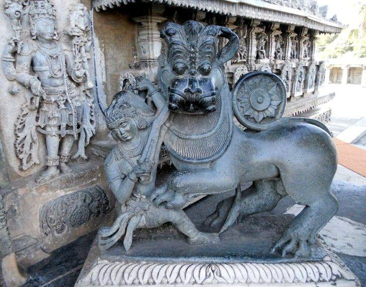 Hoysala symbol in Halebidu temple