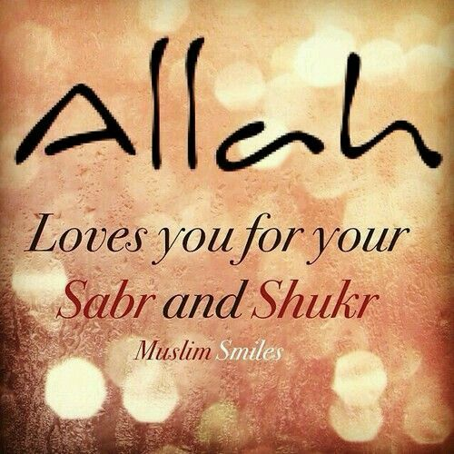 Allah loves those who sabr n shukr