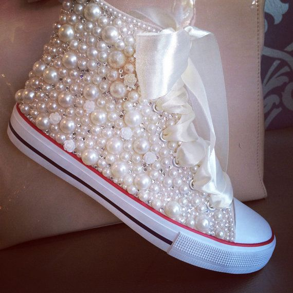 Pearls & Crystal Sneakers by BlingBoutiqueM on Etsy