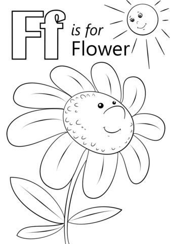 Letter F is for Flower coloring page from Letter F