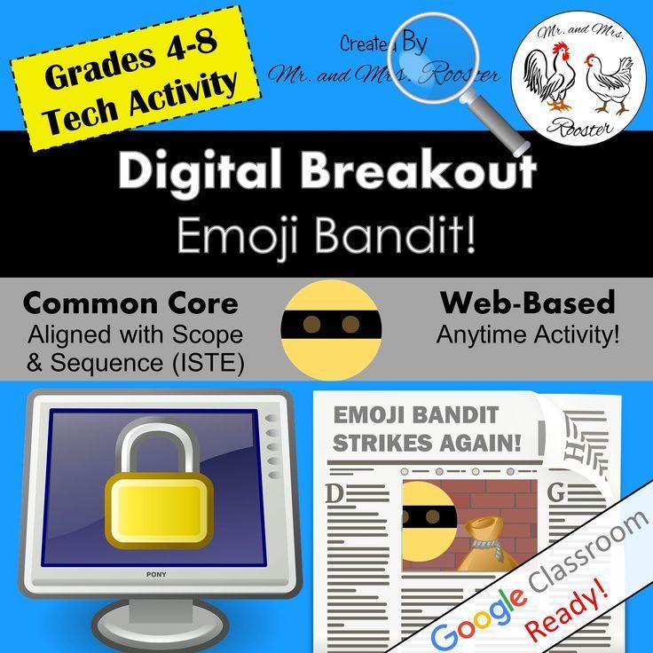 Distance Learning Back To School Digital Breakout Emoji Bandit Breakout Technology Lesson Technology Lesson Plans Technology Lessons