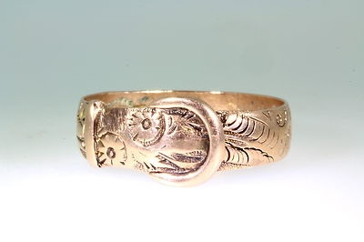 Antique Victorian 1890s 9k Solid Gold Belt Buckle Band Ring COOL