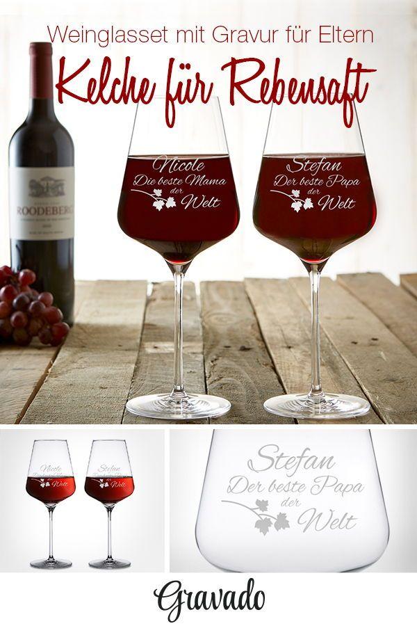 Weinglas mit Gravur - 2er Set - Beste Mama Bester Papa ...