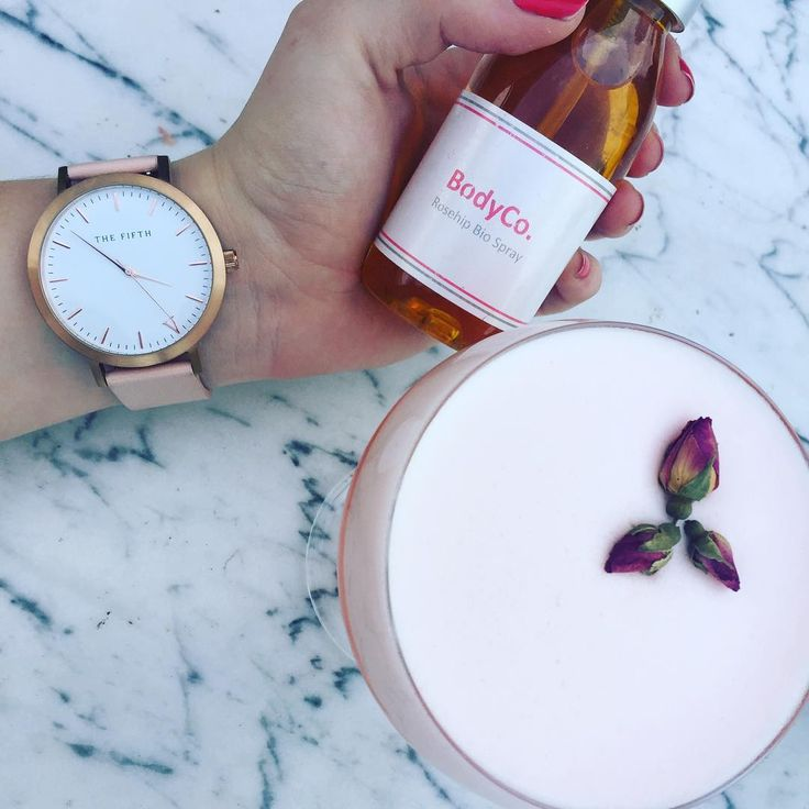 Rose - rosehip, roses, rose gold - how could you go wrong? @thefifthwatches @bodyco.australia #thefifthwatches #bodyco #body #bodycare #bodycobabe #rosehip #scarring #watches #pinkcocktails #rose #rosegold #melbourne #madeinaustralia #nakedforsatan #fitzroy