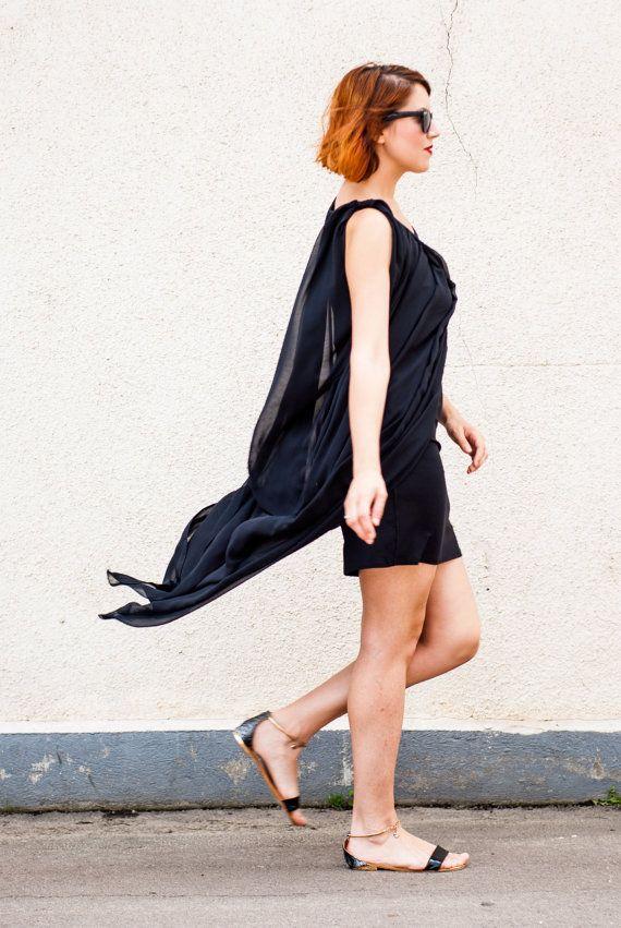 Black Maxi Dress Tunic / Extravagant Black Dress / Asymmetric Black Tunic TT19