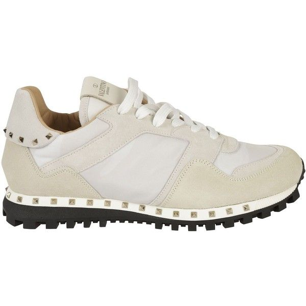 Valentino Garavani Rockrunner Sneakers (3,905 GTQ) ❤ liked on Polyvore featuring shoes, sneakers, white, valentino sneakers, valentino shoes and valentino trainers