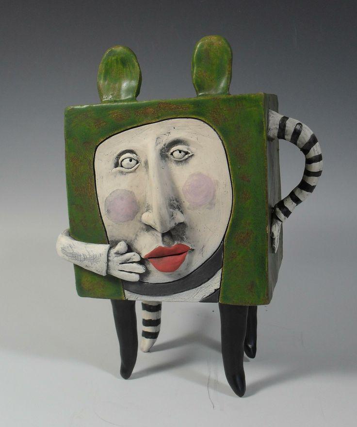 cubist in green by Kathleen Kelly www.klayworks.com