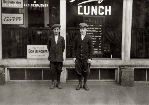 """June 29, 1916. Chicopee Falls, Massachusetts. """"Two 15-year-old boys working for Westinghouse Electric Company, going home at 5 p.m."""""""