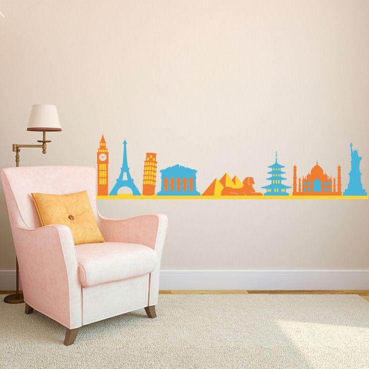 Best City Skyline Wall Decals Images On Pinterest Custom - Custom large vinyl stickers