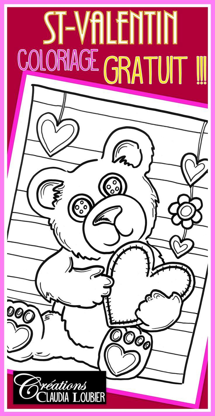 Un petit cadeau pour vous ! Un coloriage de S-Valentin pour vos élèves ! Imprimer et colorier, tout simplement. Ce document contient un ourson à colorier. Joyeuse St-Valentin !!!