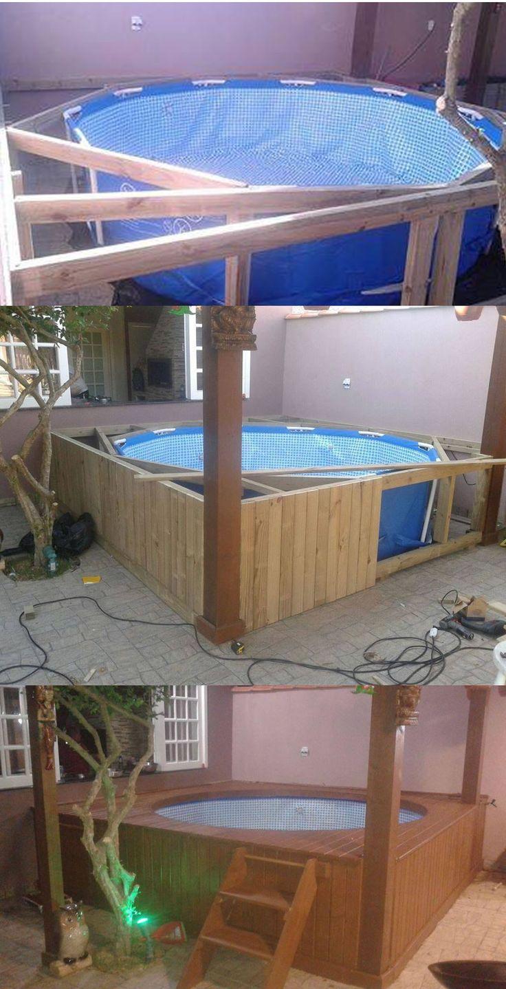 Voici une idée pour transformer une piscine tubulaire basique en un coin agréable. Plus d'idées : http://www.amenagementdujardin.net/comment-installer-et-integrer-une-piscine-gonflable-au-jardin/