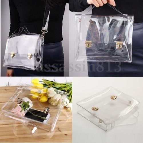 Women-Ladies-PVC-Clear-Transparent-Handbag-Tote-Shoulder-Crossbody-Bag-Messenger