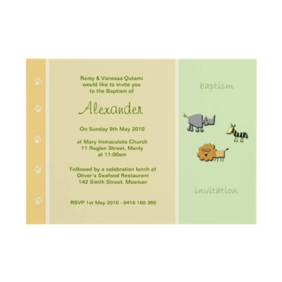 Jungle Juice Christening Invitations by Inviting Kids