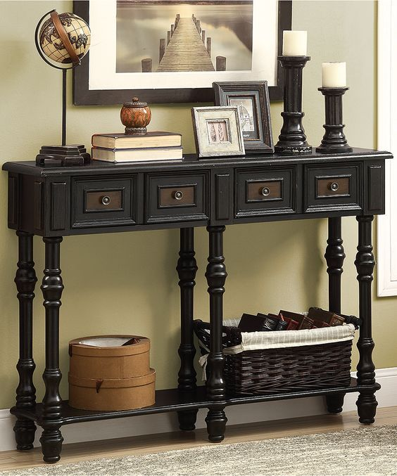 Antique Black Traditional Console Table