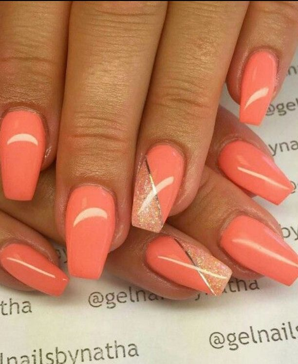 Orange Nails Bright Nail Art Bright Nail Designs Spring Nail Art