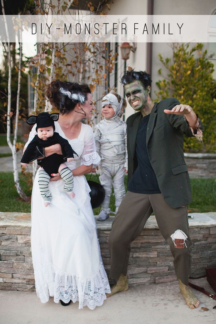 MONSTER FAMILY COSTUME DIY Frankenstein, bride of Frankenstein, mummy and bat