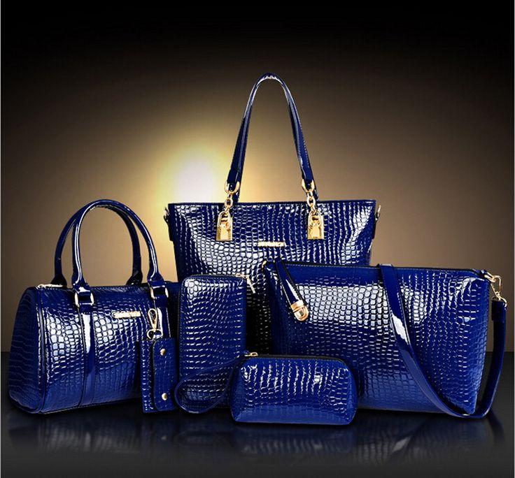 2016 мода крокодил PU кожаная сумка женщин сумки кроссбоди + сумка + rse + кошелек 6 компл. WHC008462