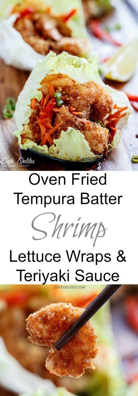 Oven Fried Tempura Batter Shrimp Lettuce Wraps _ Crispy fried Tempura style Shrimp/Prawns wrapped in fresh crisp lettuce leaves and coated in a beautiful Teriyaki sauce!