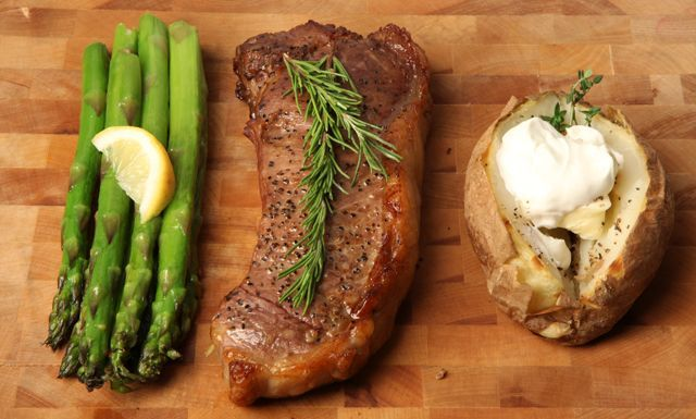 New York Strip w/ Baked Potato and Asparagus - Nuwave Cooking Club