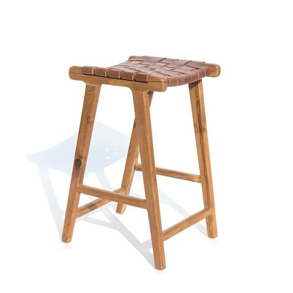 Backless Counter Height Stool With A Teak Frame And Full Grain Leather Woven Seat Handmade With Lots Of Love By Stool Outdoor Bar Stools Rattan Outdoor Chairs